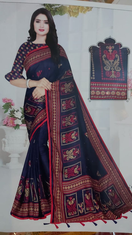 Jute pure cotton Saree (Navy Blue)