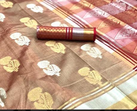 Slub cotton saree
