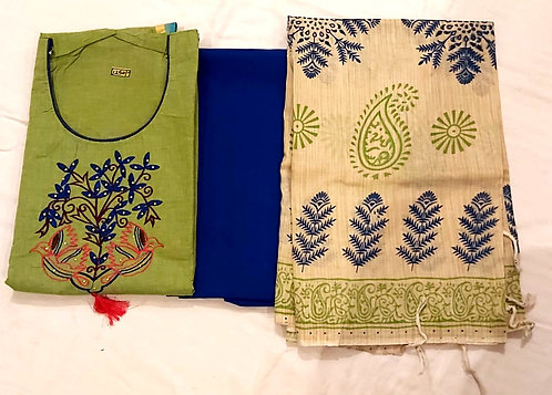 Cotton Dress Material With Front Embroidery, Jute Cotton Dupatta