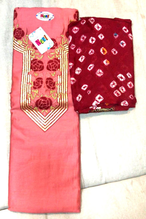 pure cotton gota patti work dress material with bandhani  dupatta