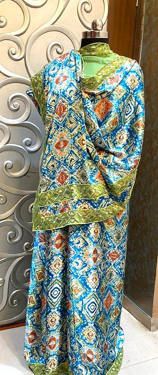 American silk saree,jaipuri sequence lace on border and pallu