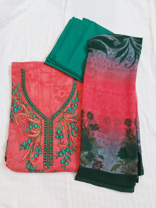 Cotton Dress Material With Georgette Dupatta