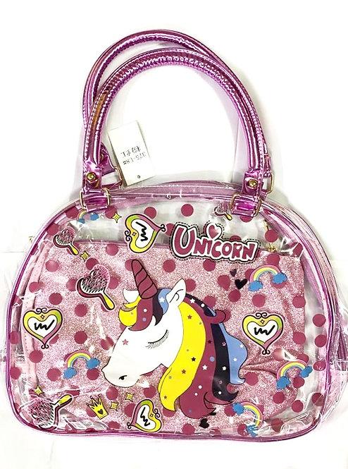 Transparent Unicorn Handbag For Girls with Glitter Pouch inside