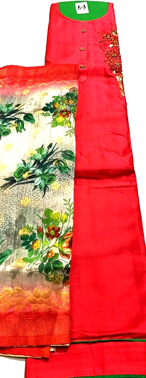 silk fabric dress material with silk dupatta