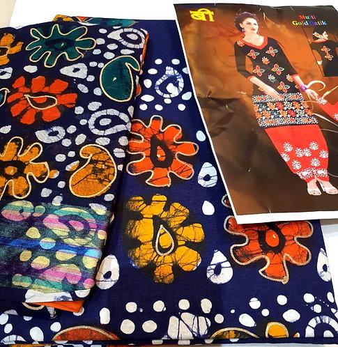 Pure Cotton batik  golden print Dress Material With Cotton Dupatta