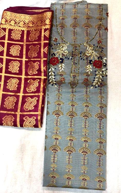 pure cotton gota patti work printed dress material with banarsi dupatta