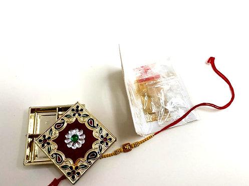 Meenakari box with rakhi & kumkum set