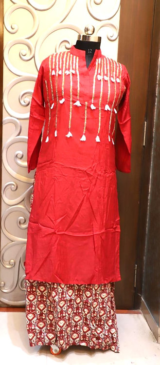 Stylish silk fabric and rayon fabric  long gown ( size L )