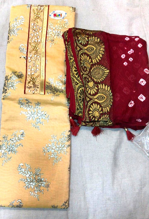 pure cotton silk gotapatti work with bandhani dupatta dress material