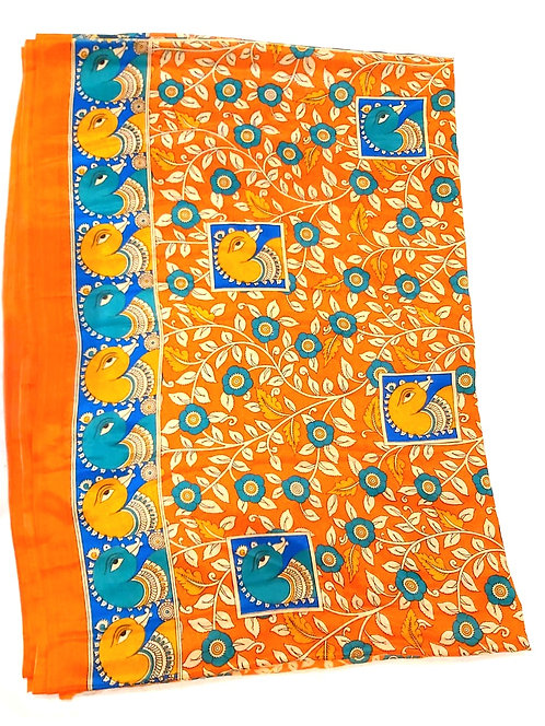Kalamkari Print Synthetic Saree ( with blouse )