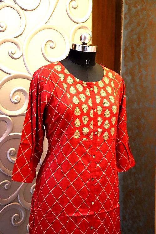 VARANGA golden printed kurti (Size XL )