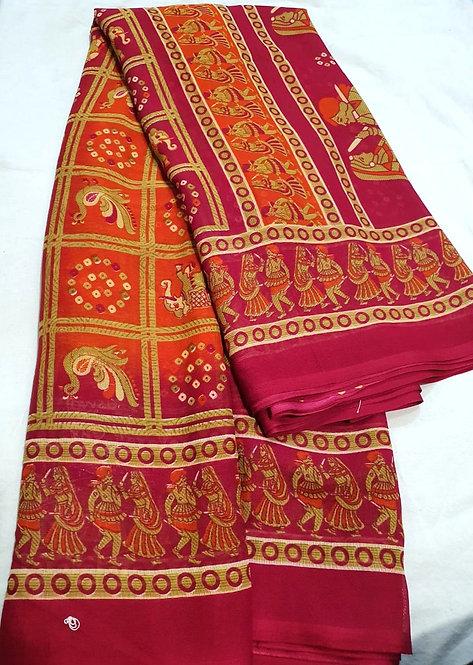 Chiffon saree with blouse