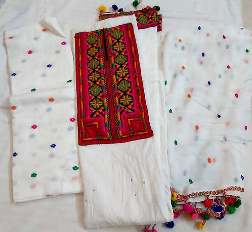 White,red colour dress material ,pure nazneen dupatta