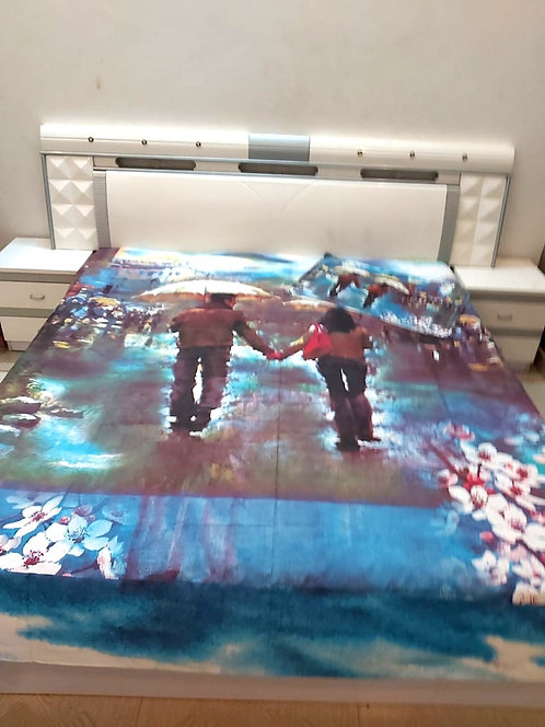 Digital print double bed sheet with 2 pilloe cover