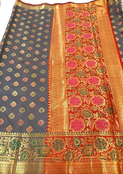 Banarsi Silk Saree with zari border  ( with brocade  blouse )
