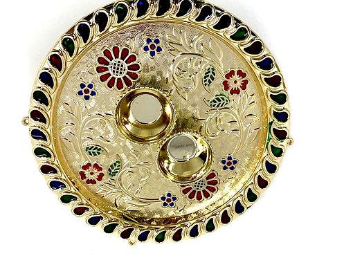 Rakhi with decorative pooja plate and kumkum chawal 15x15cm