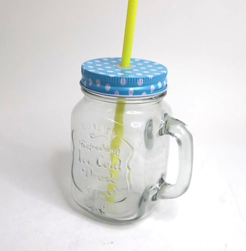 Mason jar mug with straw and lid
