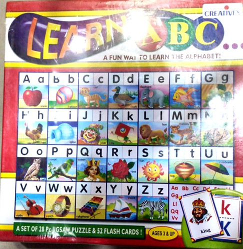 Puzzles with flash card learning ABC