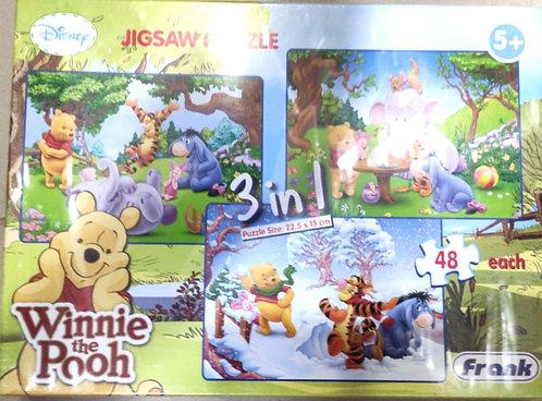 DISNEY winnie thw pooh puzzles 3 in 1 ( 48 pcs ) ( age 5+ )