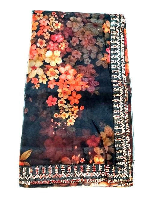 Organza fabric saree with blouse