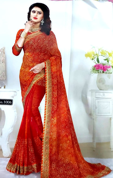 Georgette saree with gotta patti and zari work border with blouse pcs