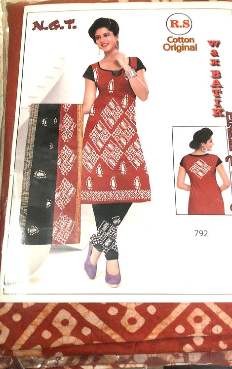 Pure Cotton batik Dress Material With Cotton Dupatta