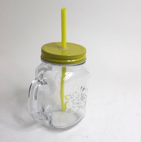Mason jar mug with straw and lid