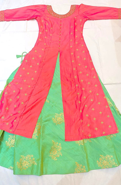 Designer Silk Long Kurti and Ghaghra set (Age 11 - 14)