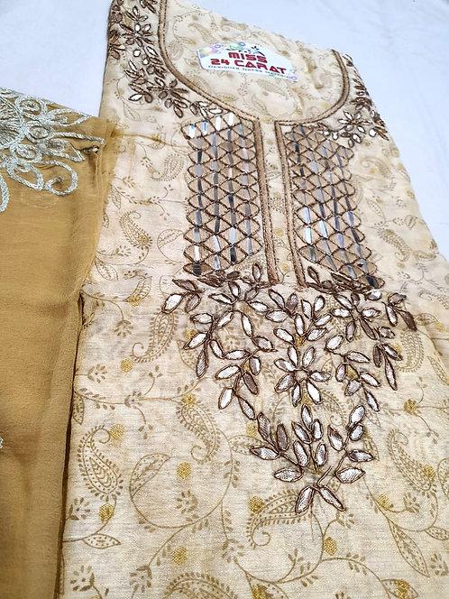 silk fabric dress material with chiffon dupatta2900