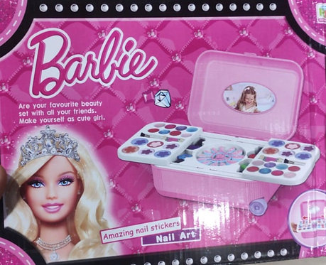 Barbie 2 in 1 cosmetic and real makeup palette with nail art