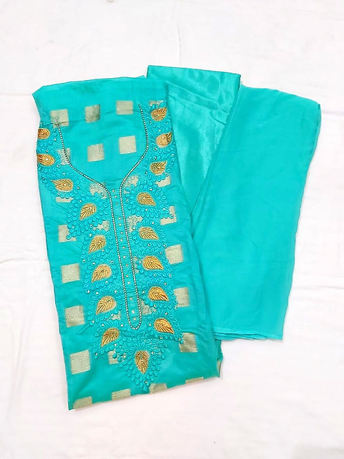 Exclusive Chanderi Silk Dress Material with nazneen dupatta