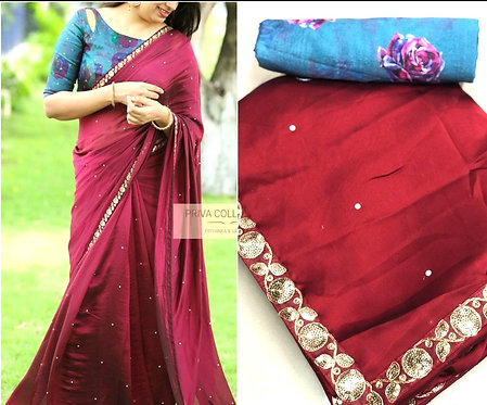 Rangoli silk saree with blouse