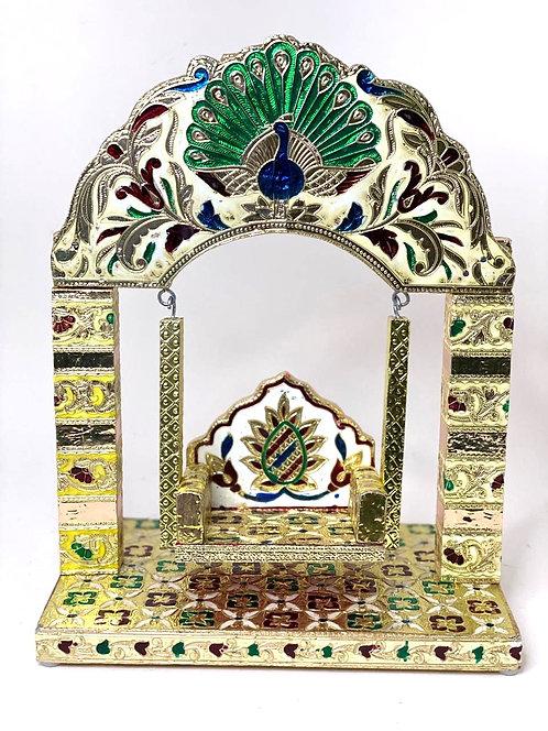 Aluminium foil meenakari krishna , balgopal jhula,29x23x14 cm ,multicolour