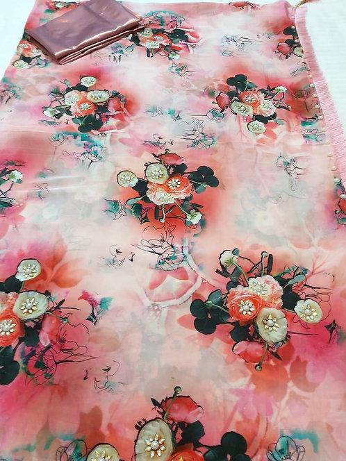 Exclusive hand work American silk saree ,stone work on pallu tassel