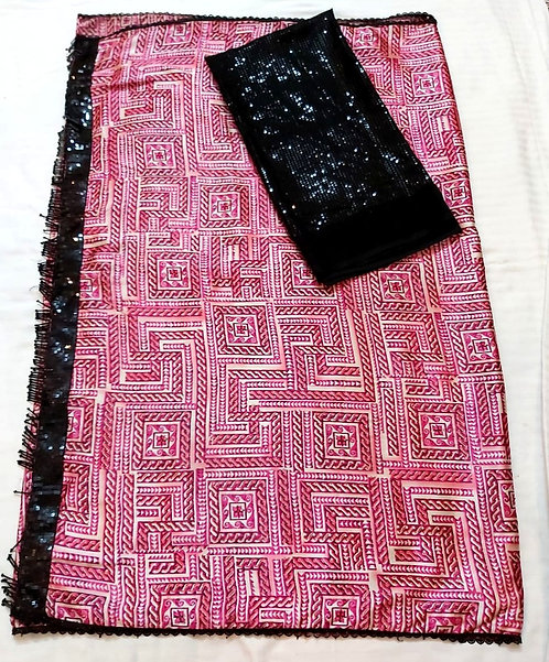 Exclusive hand work american silk saree with sequine changing  blouse