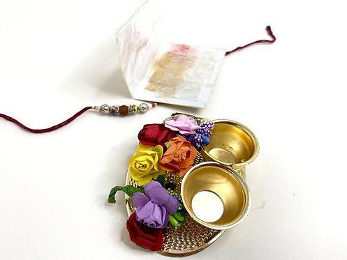 Exclusive designer flower plate with rakhi ,kumkum,chawal (9x7cm)