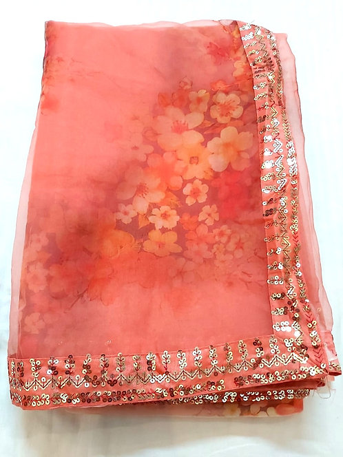 Sequence work organza fabric saree with blouse