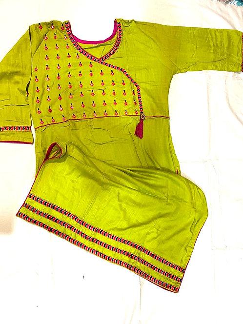 soft cotton stylish kurti with light  mirror work ( size XL )