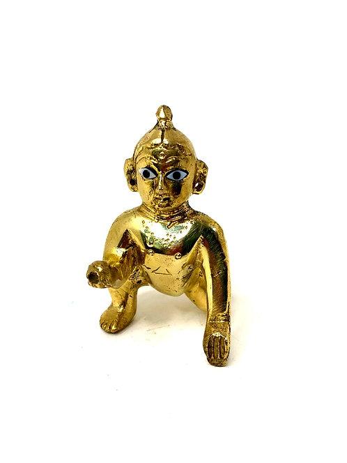 Real seed brass laddu gopal ji ( 2no.)( 7cm )(brass,gold)