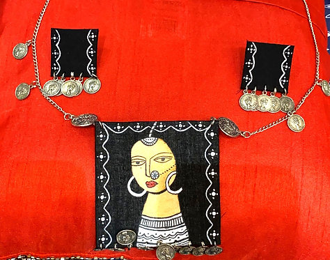 Navratri special hand painted necklace set