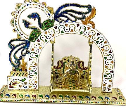 Meenakari metal body handcrafted decorated peacock laddu gopal jula (30x38x10cm)