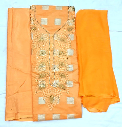 Exclusive Chanderi Silk Dress Material with nazneen dupatta