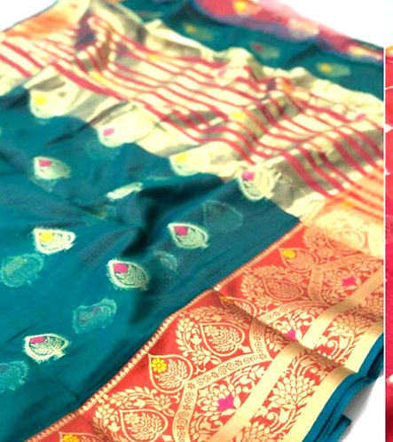 Doriya Cotton Saree ( with blouse )