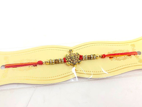 yellow dhaga stone rakhi with long lasting mauli dhaga