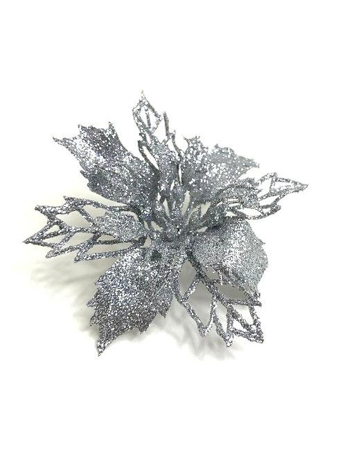 Decorative silver glitter flower