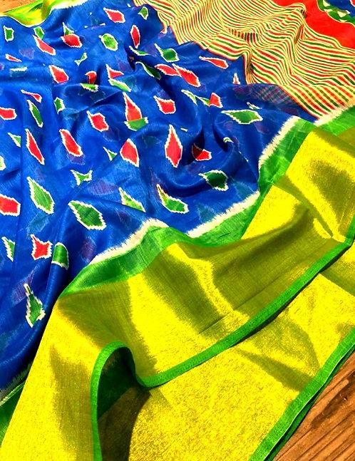 Exclusive Pochampally Silk Saree With Golden Border