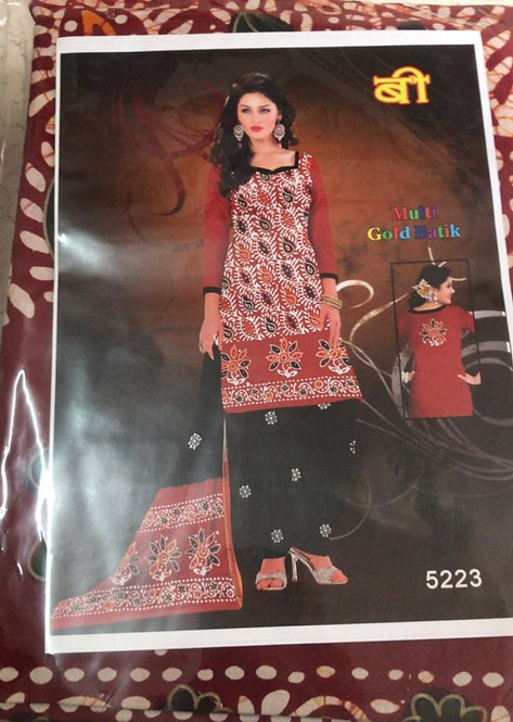 Batik print pure cotton dress material with cotton dupatta