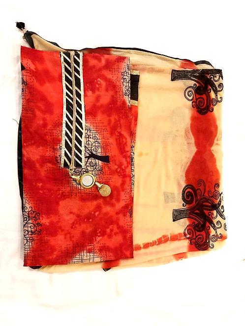 Cotton dress material with nazneen dupatta