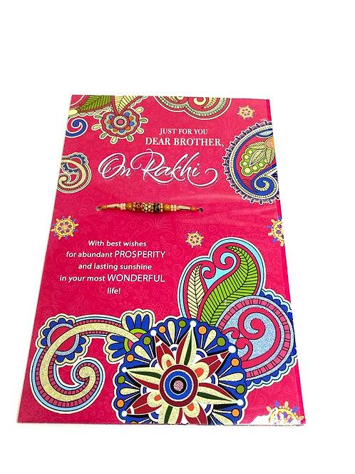 Rakhi greeting card with rakhi ( 22x14cm)