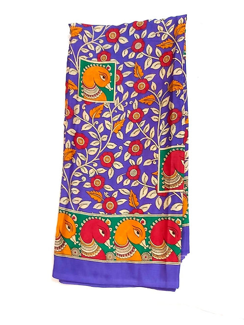 Kalamkari Print Synthetic Saree (with blouse )